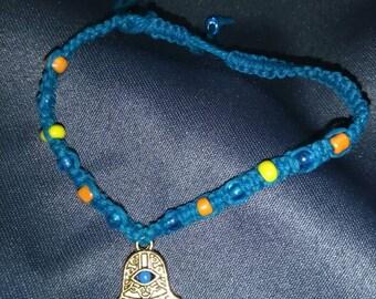 Turquoise Hamsa Hemp Bracelet