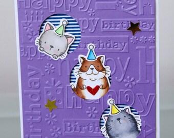 Purple Cat Birthday Card