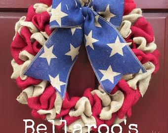 Burlap Stars and Stripes Patriotic Wreath