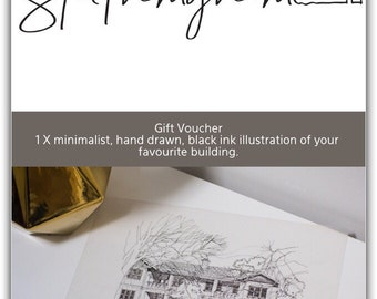 Gift Voucher for 1 x minimalist, hand drawn, black ink illustration of your favourite building.