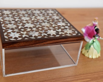 Plexiglass multipurpose storage box with inlaid wooden cover, Home Decor, decor box, Syrian mosaic, mother of pearl, trinket box, wood box,