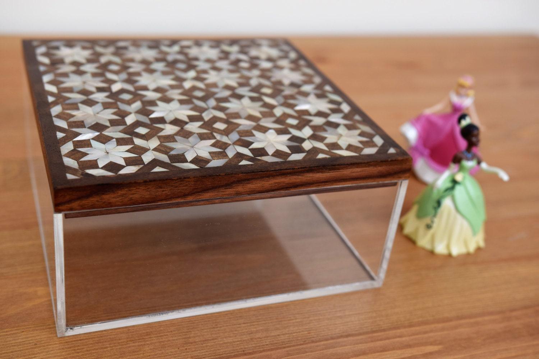 Plexiglass Multipurpose Storage Box With Inlaid Wooden