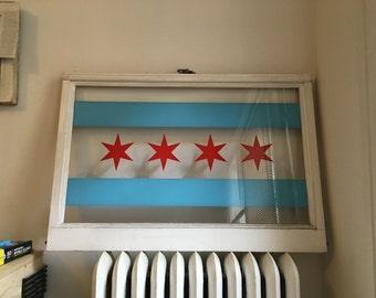 Handmade Chicago Flag Window