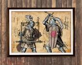 Knights poster Steampunk art Patent print Antique print SOL208