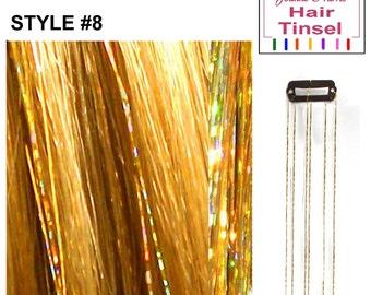 Sparkling Tinsel Clip choose Pink. Blue, Gold or Silver