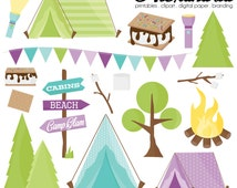 Glam Camper Digital Clipart - Personal & Commercial Use - Camping Clipart, Glamper Graphics, Summer Images