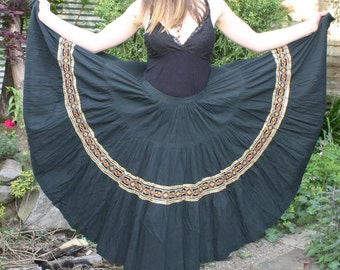 Vintage Black Maxi Skirt with Gold Embroidery