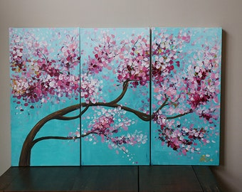 Tree painting,flower painting,cherry blossom ,ORIGINAL painting,wall decor,Acrylic Painting,painting on canvas