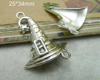 4 Wizard Witch Hat Charms Antique Silver Tone W/ Beautififul Detail Halloween Charms Witches Hat Charm Charm Bracelet Bracelet Pendants #509