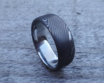 Stainless Damascus Steel Wedding Ring With Polished Inside Handmade in Scotland