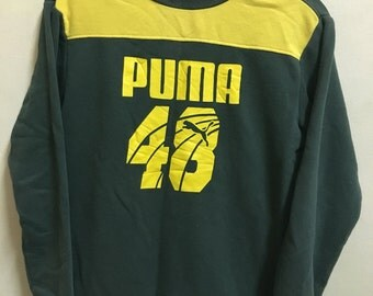 Vintage 90's Puma 48 Yellow And Green Sport Classic Design Skate Sweat Shirt Sweater Varsity Jacket Size L #A150