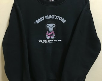 Vintage 90's Baby Milo Black Classic Design Skate Sweat Shirt Sweater Varsity Jacket Size M #A195