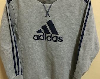 Vintage 90's Adidas Grey Black 3 Stripes Sport Classic Design Skate Sweat Shirt Sweater Varsity Jacket Size L #A357