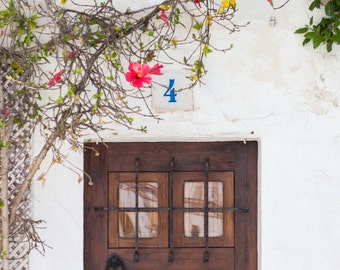 Ibiza, Spain, , Old Town, White Washed Town, Hibiscus, Doortrait, Wooden Door, Fine Art, Photograph, Wall Art, Print, Travel Photography