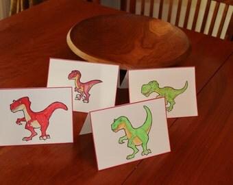 Dinosaur Cards Set of four (4); Trex Card, Velociraptor Card, Blank Greeting card, Dinosaur Blank Cards