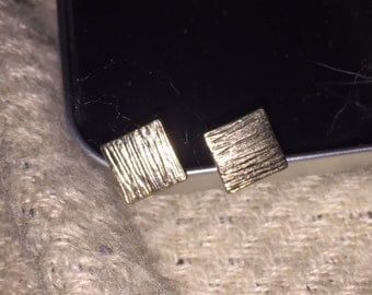 Beautiful Silver Square Stud Earrings Unique, Artsy, Brushed
