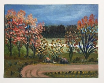 Original landscape painting, vintage art, 1950s, autumn, magical, naive, folk art