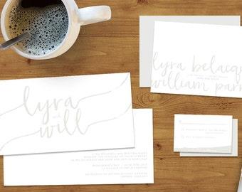 Subtle Powder White Wedding Invitations Stationery Set (Printed or Digital Download)