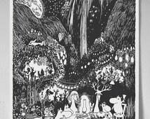 Classic style Moomin print book illustration digital - A3 poster, A4, A5, 5x7 illustration - #5 Finn Family Moomintroll