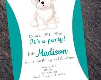 Puppy Birthday Party Invitation - DIGITAL FILE