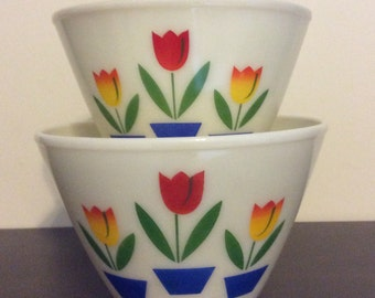 Set of 2 Fire King Mixing Bowls