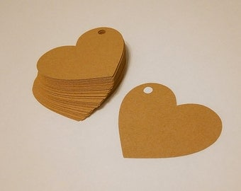 Kraft Tags, Heart Shaped Tags, Paper Tags, Tag Lables, Heart Tags, Heart Shaped Tags  (50 pieces)
