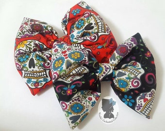 Sugar Skulls Hair Bow, Dia De Los Muertos, Sugar Skulls Hair Clip