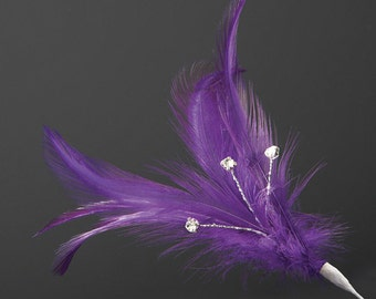 Plum Diamante Feathers - Wired Stem -  3 or 6 Stems - Bouquets, Fascinators, Hats, Cake Decoration
