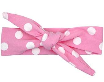 Light Pink and White Polka Dot Top Knot Headband