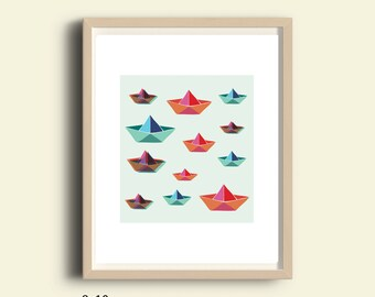Printable art, paper Boat art, paper boat printable, paper boat decor, origami boat, nursery boat decor, instant download kids art, 8X10