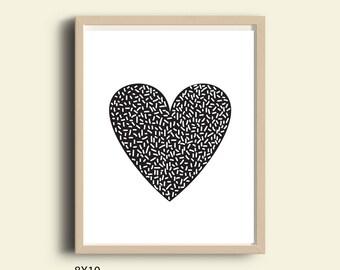 Digital heart print, heart art, love print, printable art, black and white prints, black white heart, modern art, home decor, wall art 8X10