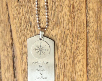Moral Compass Dog Tag Necklace