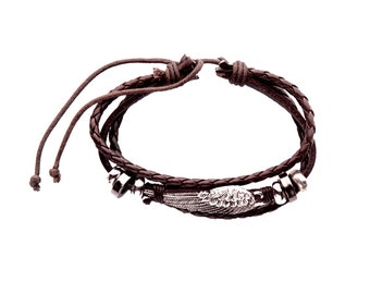 Angel Wing Leather Bracelet