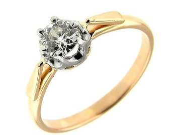 0.53 CT Rose Gold Women's Diamond Solitaire Engagement Ring 14 Kt
