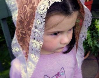 Mantilla for Girls / Lace Chapel Veil / Kerchief for Mass / Veils for Girls / Catholic Headdress / Modest Mantilla / Latin Mass Veil