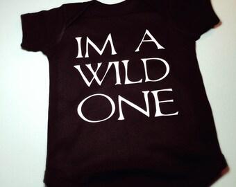 Im a wild one babys first birthday black onesie