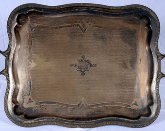 """Beautiful Large """"FRAGET W WARSZAWIE"""" Serving Tray Poland/Russian 1860-1872"""