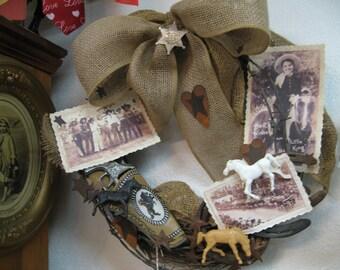 Vintage Cowboy - Cowgirl Western Wreath