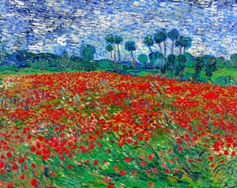 Vincent van Gogh 1890, Poppy Field - Poppies, HD Canvas Print or Art Print, Artwork Wall Poster Impressionism Print on Canvas Van Gogh