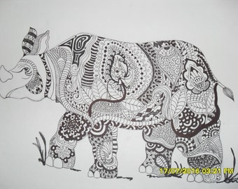 Rhino Zantangle Drawing - Wall Art - Home Decor - Gift