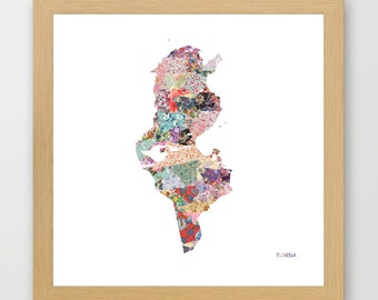 TUNISIA MAP, flowers composition, roses, Giclee Fine Art, Poster Print