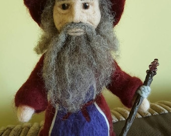 Needle felted wizard