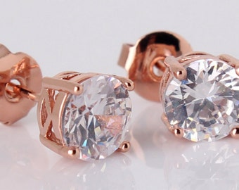 18K Rose Gold Plated CZ Crystal Stud Earrings