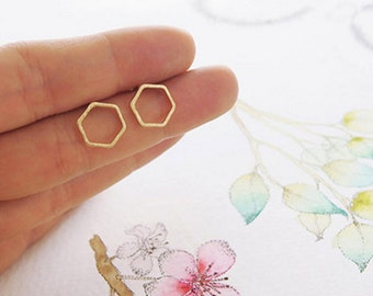 Gold Plated Hexagon Stud Earrings