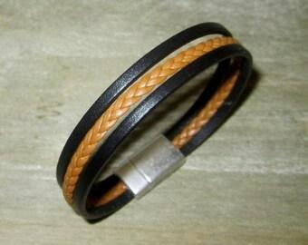 Bracelet Cuir Homme Noir/Camel Tressé, Fermoir Aimanté