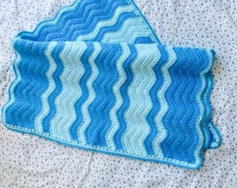 Pram Blanket, Ripple Crochet Baby Blanket