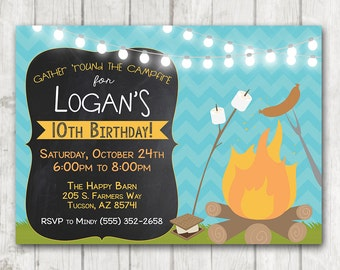 Printable Campfire Invitation, Camping Birthday Invitation, Camping Party, BBQ Birthday invitation, Chalkboard Smores Weenie Roast Invites