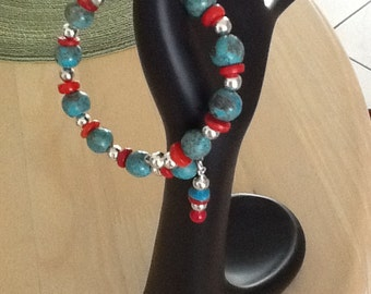 Turquoise,Red,& Silver beaded Bracelet: