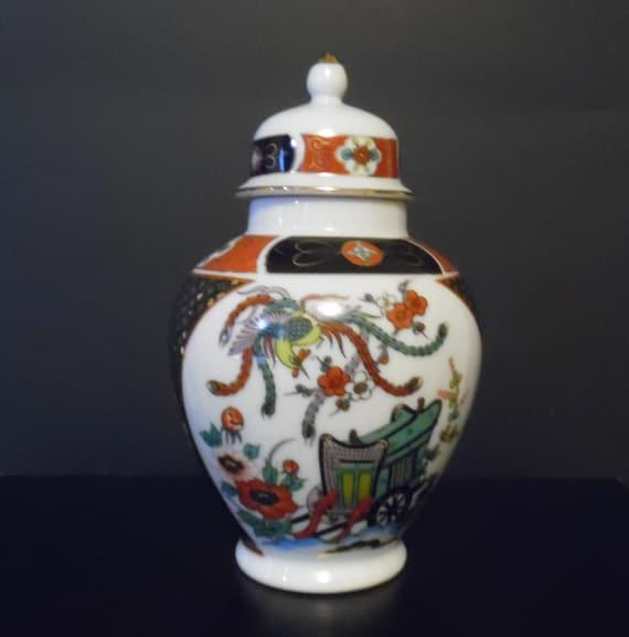 Imari Porcelain Ginger Jar Urn Vase With Lid Made In Japan