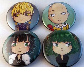 One Punch Man buttons set pin back genos fubuki tatsumaki saitama anime